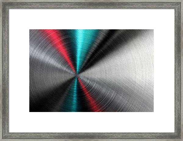 Abstract Metallic Texture With Blue And Red Ray Pattern. Framed Print