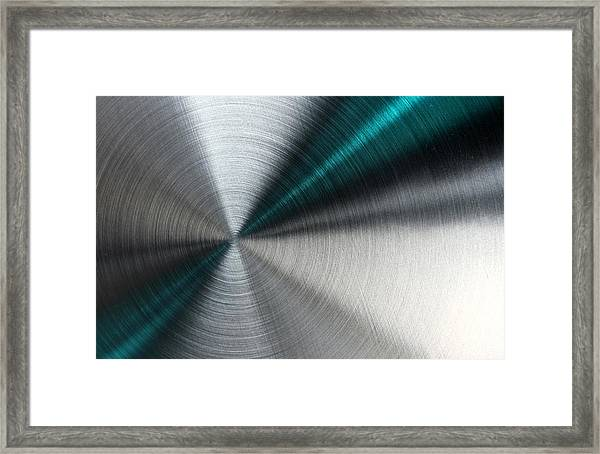 Abstract Metallic Texture With Blue Rays. Framed Print
