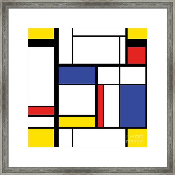 Abstract Modern Painting In Mondrian Framed Print by Lars Poyansky