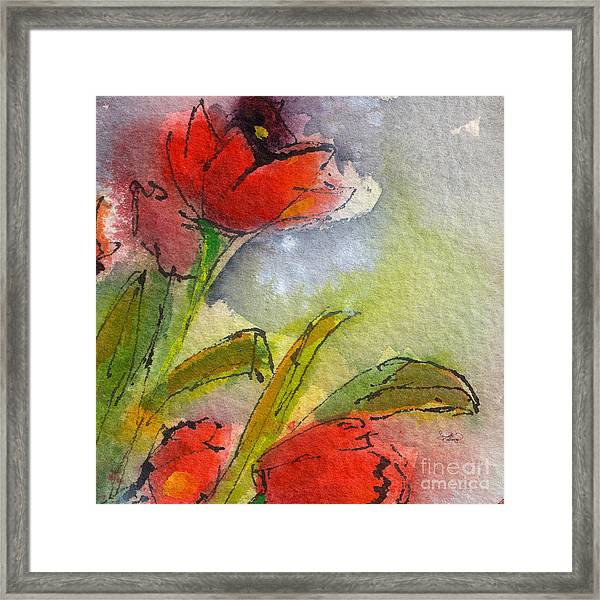 Abstract Modern Red Tulips Watercolor Framed Print