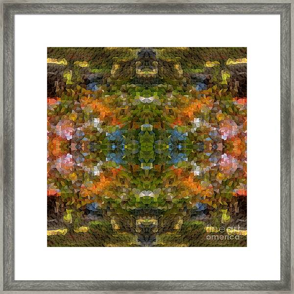 Abstract Mosaic In Green Blue Orange Framed Print