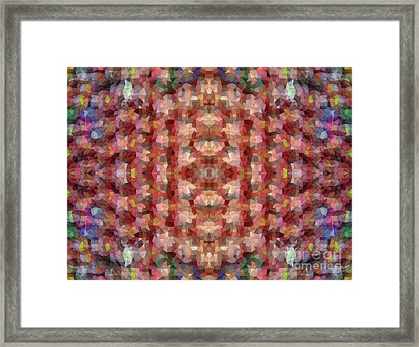 Abstract Mosaic In Red Rainbow Framed Print