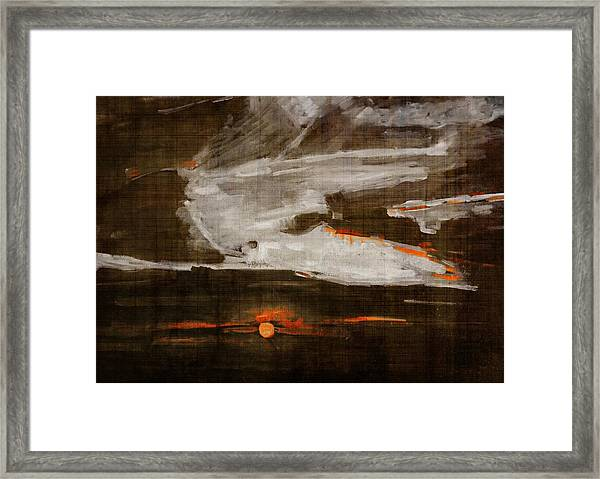 Abstract Motion Behind The Sunset Clouds Framed Print
