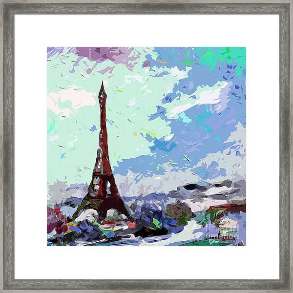 Abstract Paris Memories In Blue Framed Print