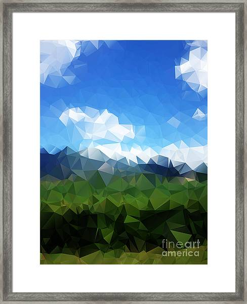 Abstract Polygonal Landscape Background Framed Print