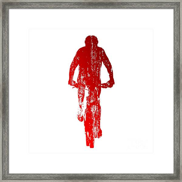 Abstract Red Mountain Biking Framed Print