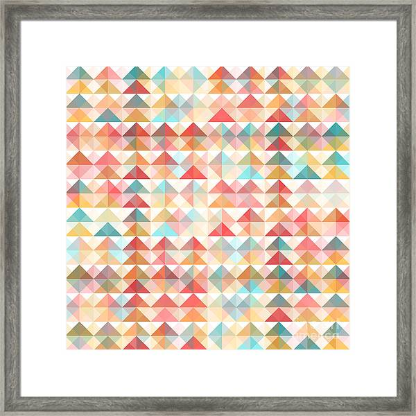 Abstract Retro Geometric Background Framed Print