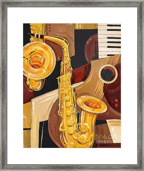 Abstract Saxophone Framed Print by Paul Brent