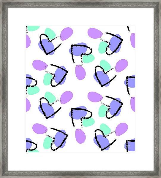 Abstract Seamless Heart Pattern Grunge Framed Print