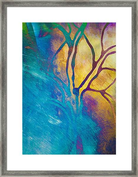 Framed Print featuring the mixed media Fire And Ice Abstract Tree Art  by Priya Ghose
