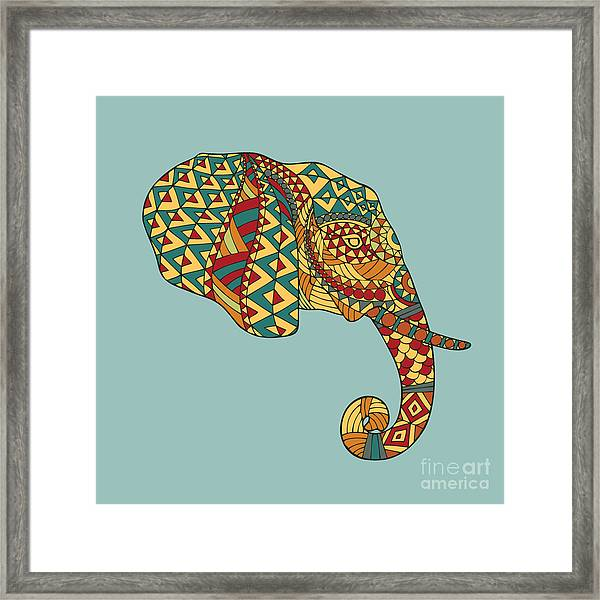 Abstract Vector Image Of An Elephants Framed Print