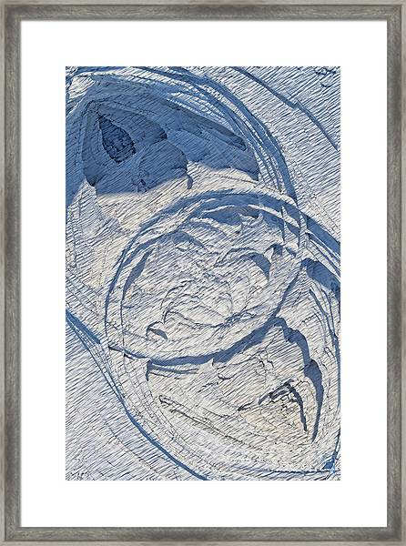 Abstract With Blue Shadows Framed Print