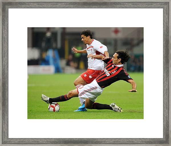 Ac Milan V As Bari - Serie A Framed Print by Massimo Cebrelli