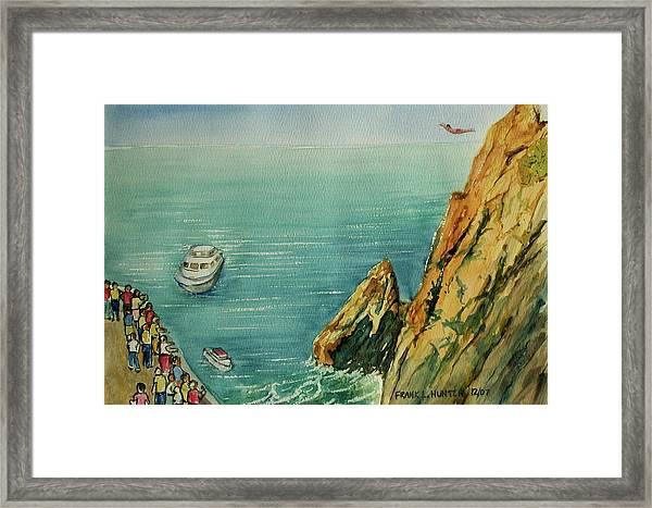Acapulco Cliff Diver Framed Print