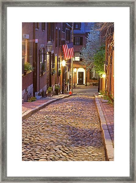 Acorn Street Of Beacon Hill Framed Print