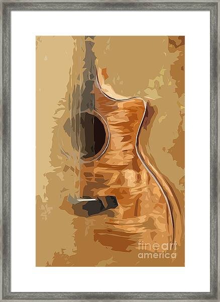 Acoustic Guitar Brown Background 1 Framed Print by Drawspots Illustrations