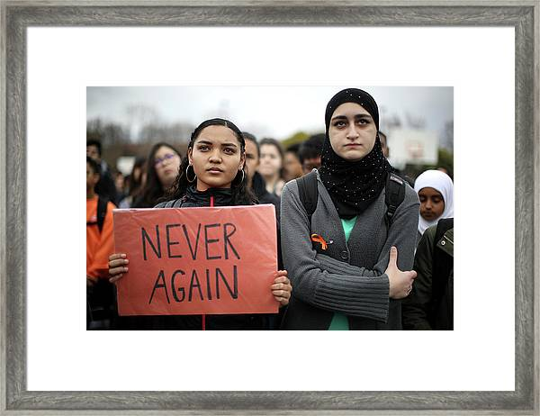 Across U.s., Students Walk Out Of Framed Print