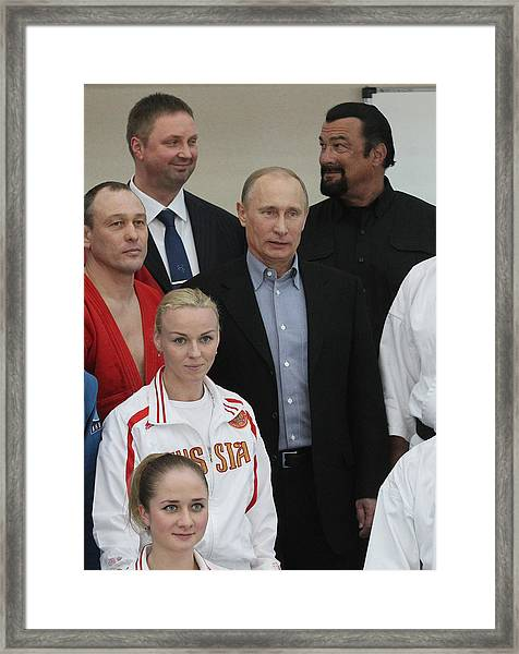 Actor Steven Seagal Visits Russia On The Invite Of Vladimir Putin Framed Print by Sasha Mordovets