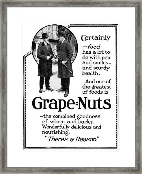 Ad Grape Nuts, 1919 Framed Print