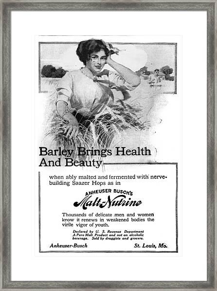 Ad Malt-nutrine, 1911 Framed Print