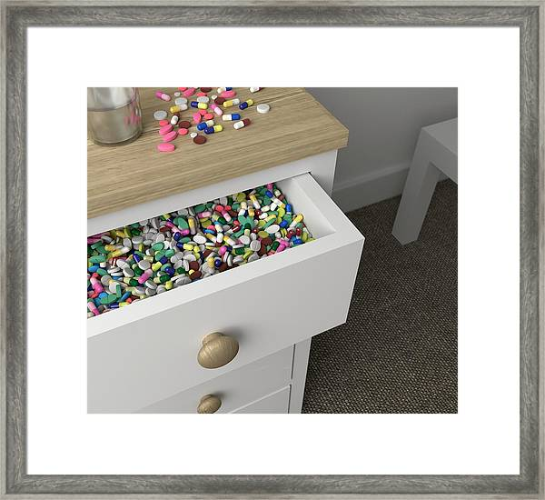 Addicted To Pills Framed Print by Robert Brook