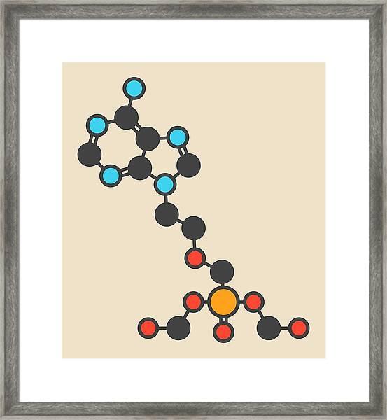 Adefovir Antiviral Drug Molecule Framed Print by Molekuul
