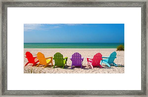 Adirondack Beach Chairs For A Summer Vacation In The Shell Sand  Framed Print