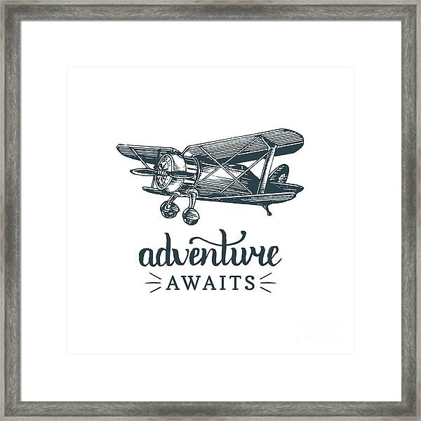 Adventure Awaits Motivational Quote Framed Print by Vlada Young