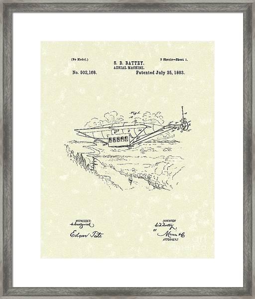 Aerial Machine 1893 Patent Art Framed Print