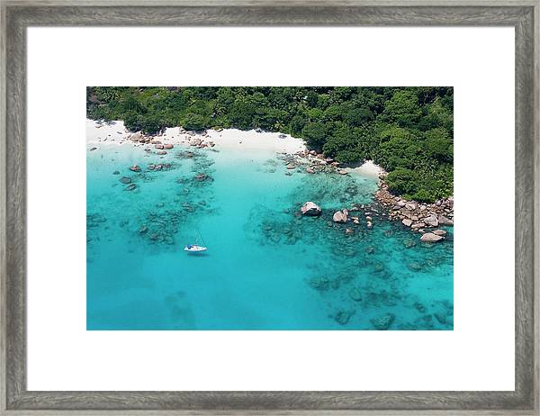 Aerial Of Sailboat Off Anse Lazio Framed Print