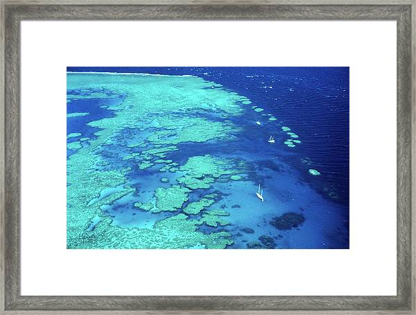Aerial Of Sailboats At Hardy Reef, Near Framed Print