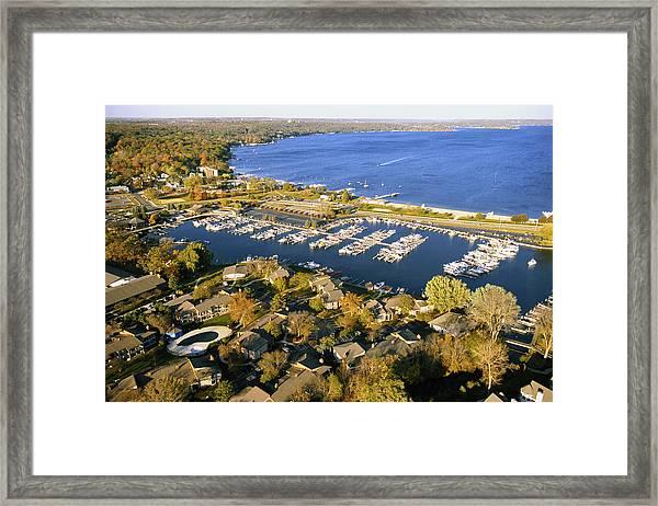 Aerial Of The Abbey Harbor - Fontana Wisconsin Framed Print
