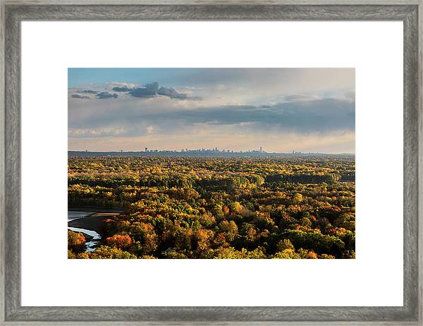 Aerial View In Nature With City In The Framed Print