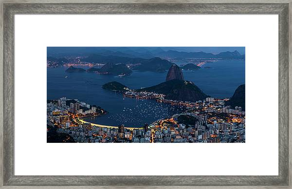 Aerial View Of City From Christ Framed Print