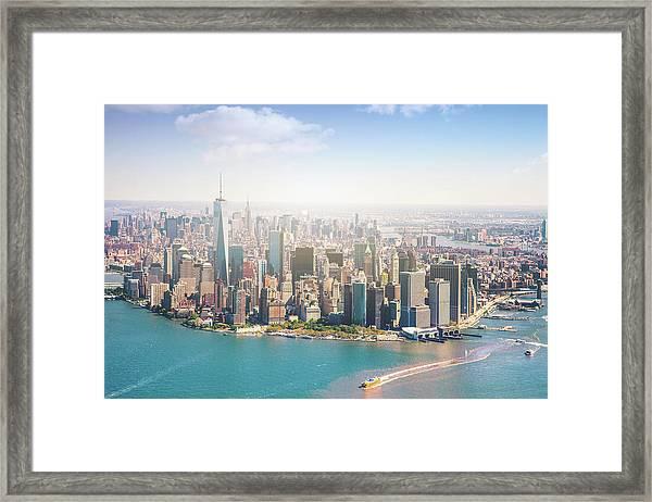 Aerial View Of Manhattan - New York Framed Print