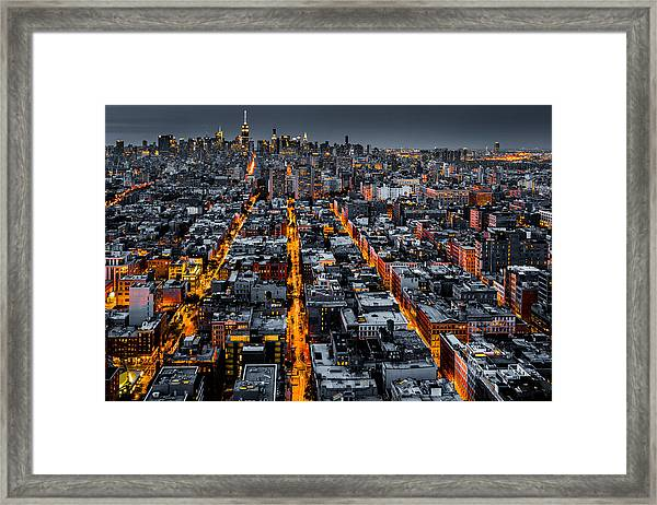 Aerial View Of New York City At Night Framed Print