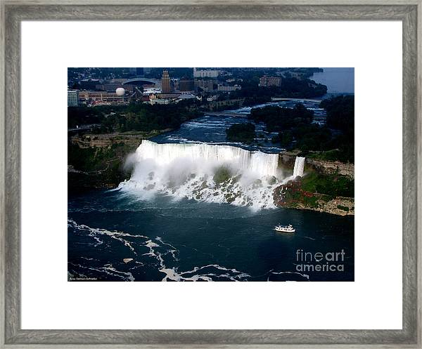Aerial View Of Niagara Falls And River And Maid Of The Mist Framed Print