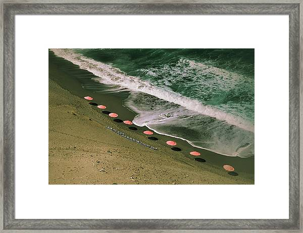 Aerial View Of Parasols On Beach With Framed Print