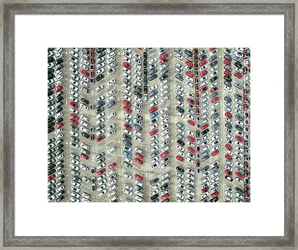 Aerial View Of Parked Cars Framed Print