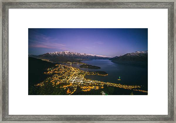 Aerial View Of Queenstown Cityscape At Night, New Zealand Framed Print by Lingxiao Xie