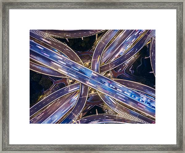 Aerial View Of Shanghai Highway At Night Framed Print by Ansonmiao