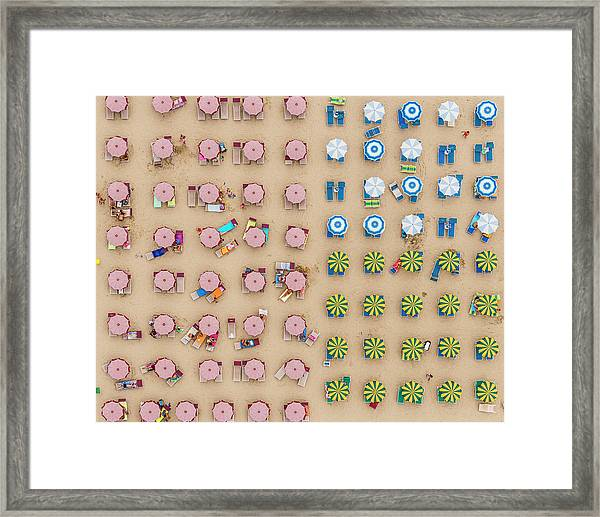 Aerial View Of Sunshades Standing In Framed Print