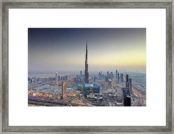 Aerial View Of The Burj Dubai, Dubai Framed Print