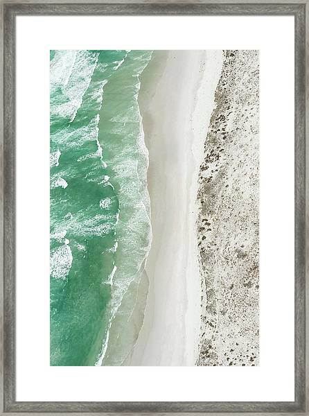 Aerial View Of The Sixteen Mile Beach Framed Print by Peter Chadwick