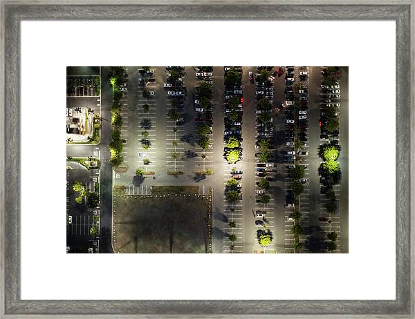 Aerial View Of  The Suburb Parking,la Framed Print