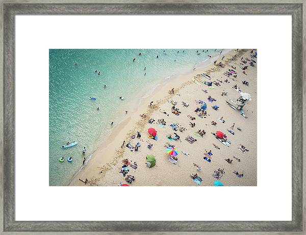 Aerial View Of Tourists On Beach Framed Print by Alberto Guglielmi