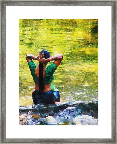After The River Bathing. Indian Woman. Impressionism Framed Print