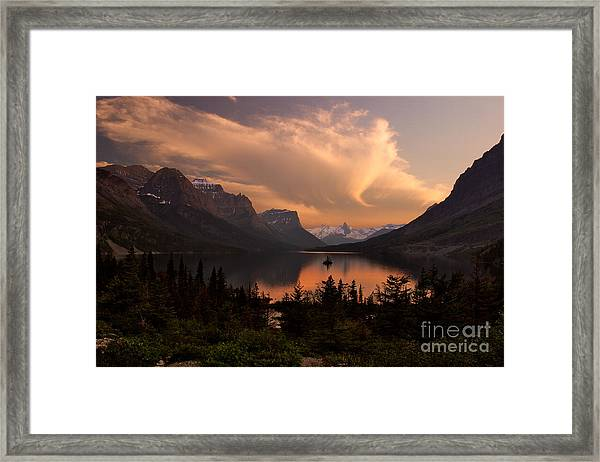 Afterglow Over Wild Goose Island In Saint Mary Lake Framed Print
