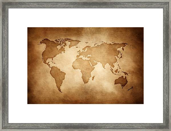 Aged Style World Map, Paper Texture Background Framed Print by Sankai