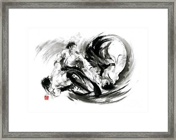 Aikido Randori Fight Popular Techniques Martial Arts Sumi-e Samurai Ink Painting Artwork Framed Print